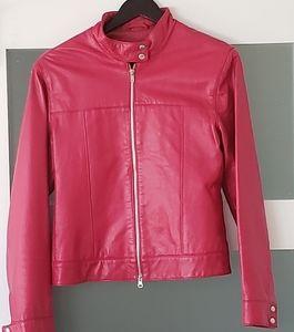 MOTORCYCLE Leather Jacket by OLSEN fuchsia size 8
